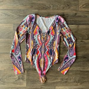 Free People women's paisley print body suit